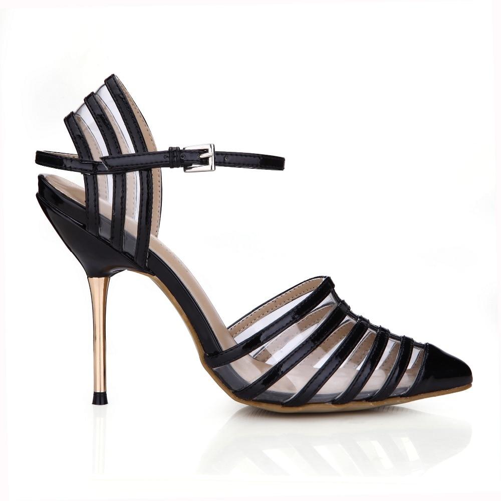 Горячая мода полосатые острым носом металл тонкий высокие каблуки женщины прозрачный вечернее платье Гладиатор летние сандалии насосы обувь