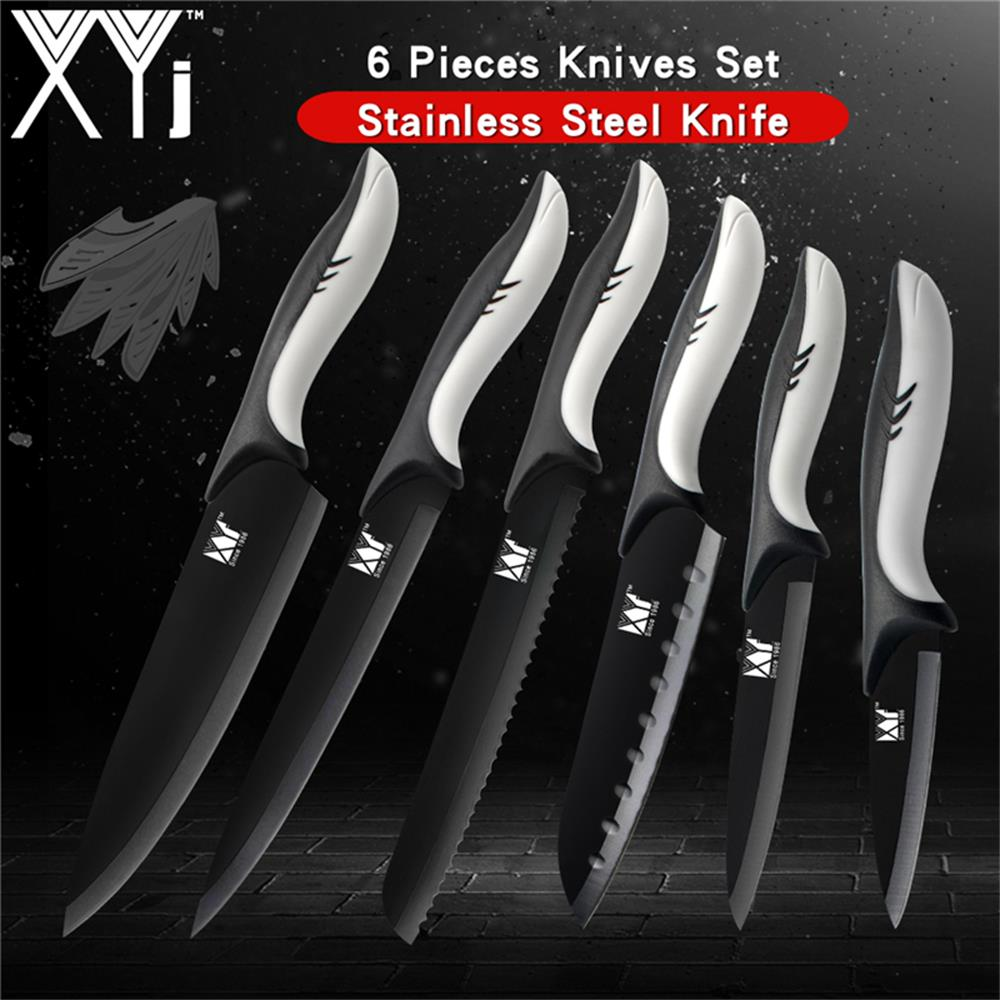 Stupendous Us 18 31 73 Off Xyj Professional Stainless Steel Kitchen Knife Set 7Cr17 Japanese Steel Kitchen Knive Ultra Sharp Blade Shark Handle Chef Tools In Home Interior And Landscaping Ologienasavecom