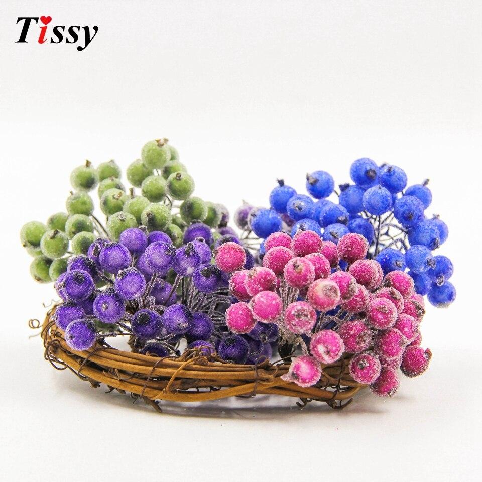 1cm 20pcs/lot Mini Plastic Frozen artificial Berry Bouquet flower for home Garden wedding Car decoration crafts supplies