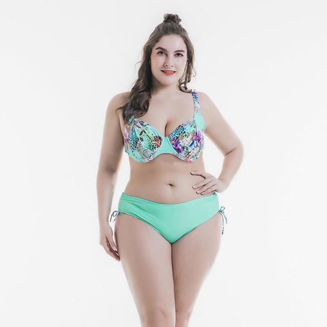 a3113be9139 Summer Plus Size Sexy Women Bikini Swimwear Underwire No Pad Light Green  Swimsuit Cup D,E Big Breast Mom Beach Wear Bathing Suit