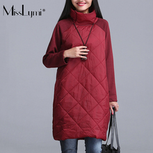 Фотография MissLymi 4XL Plus Size Women Turtlenecks Dress 2017 Autumn Winter Zipper Down Quilted Stitching Long-Sleeved Casual Loose Dress