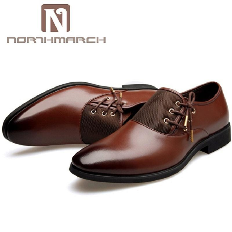 NORTHMARCH Italian Brand Mens Dress Shoes Classic Point Toe Oxfords For Men Fashion Business Mens Party Shoes Chaussure Homme