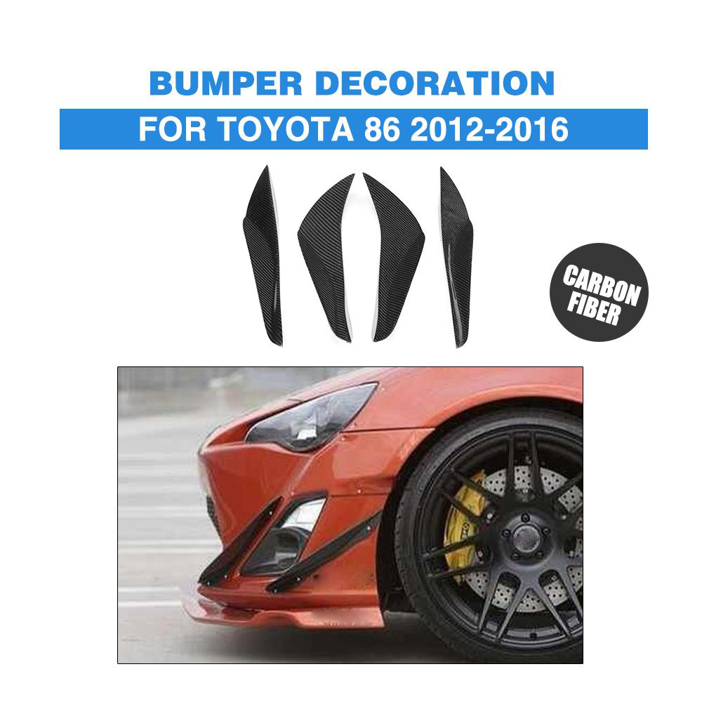 4PCS Carbon Fiber Front Side Bumper Trims Stickers Splitters Fins Flaps spoiler For Toyota GT86 86 FT86 2012-2016 Car Styling 2x2 fc apc fiber optic plc splitter fiber splitters fiber pigtails fbt splitters