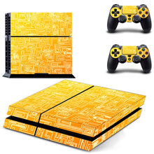 gold print decal PS4 Skin Sticker For Sony Playstation 4 Console +2Pcs Controllers