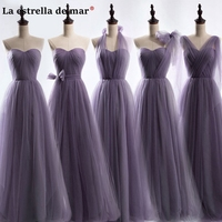 Vestidos fiesta boda new tulle Off the Shoulder Backless A Line Purple bridesmaid dress long wedding party dress cheap