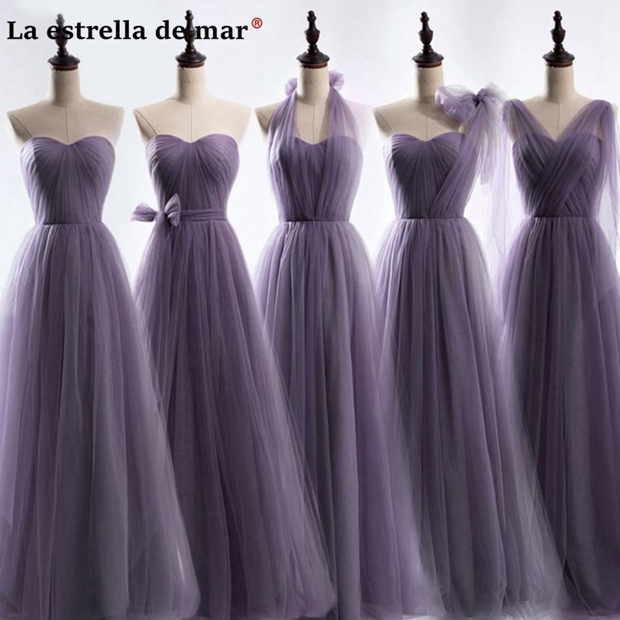 vestidos de festa vestido longo para casamento 2018 New Tulle5 style purple bridesmaid  dresses cheap wedding f571d360522d
