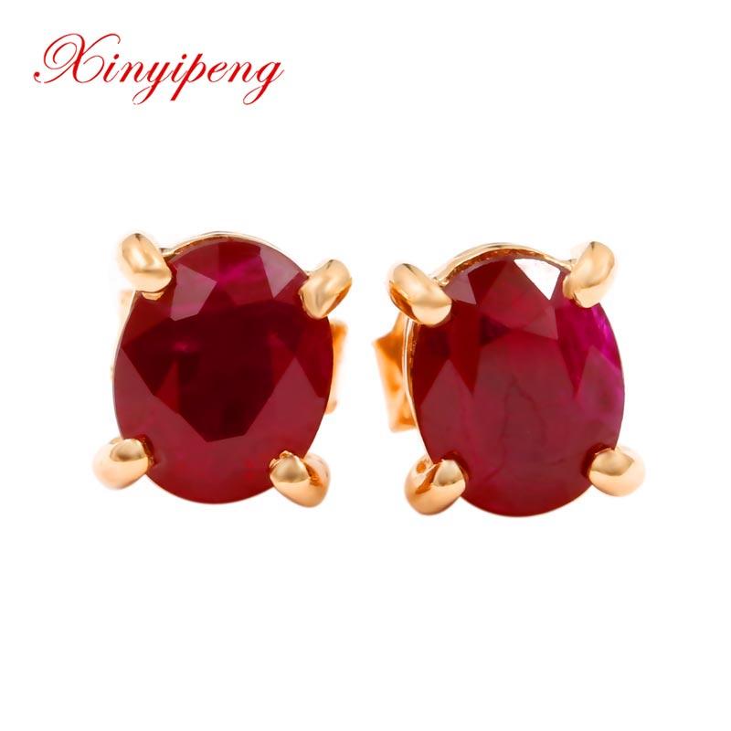Xin yi peng fine jewelry real 18k rose gold 100% natural oval ruby female stud earrings for women fine earrings AU750