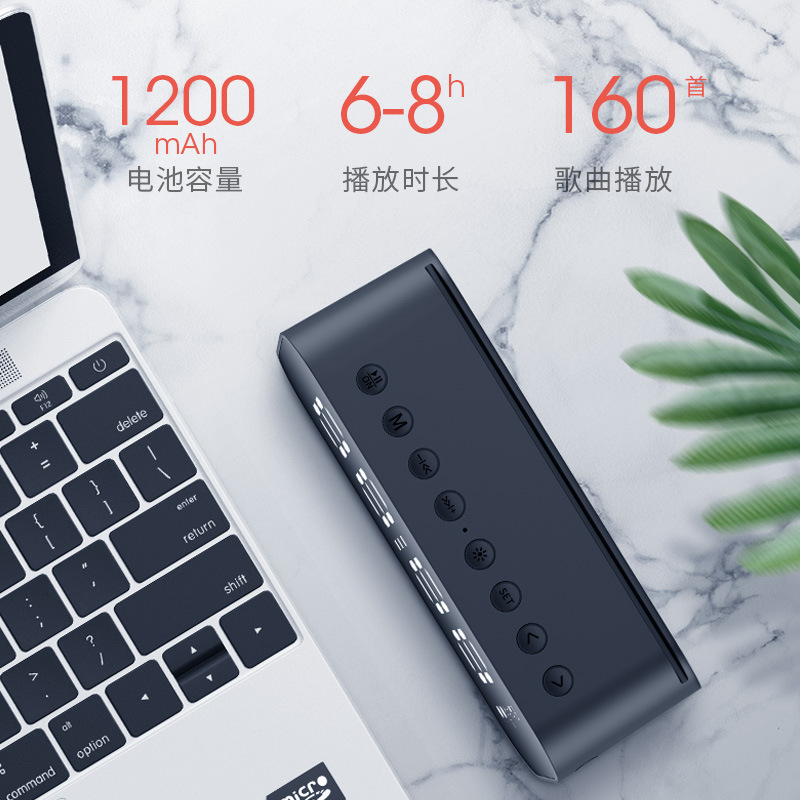 New LED lamp with wireless Bluetooth Speaker Mini Ultra bass gun mirror alarm clock smart Stereo - 4
