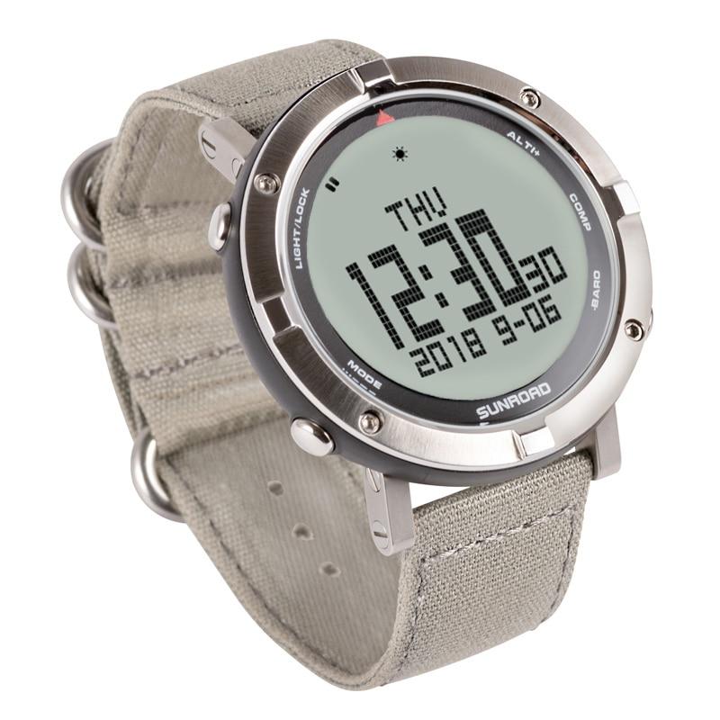 SUNROAD męski zegarek cyfrowy tętno kompas barometr wysokościomierz cyfrowy Clcoks Reloj Hombre 5ATM wodoodporny zegarek sportowy w Zegarki cyfrowe od Zegarki na  Grupa 2