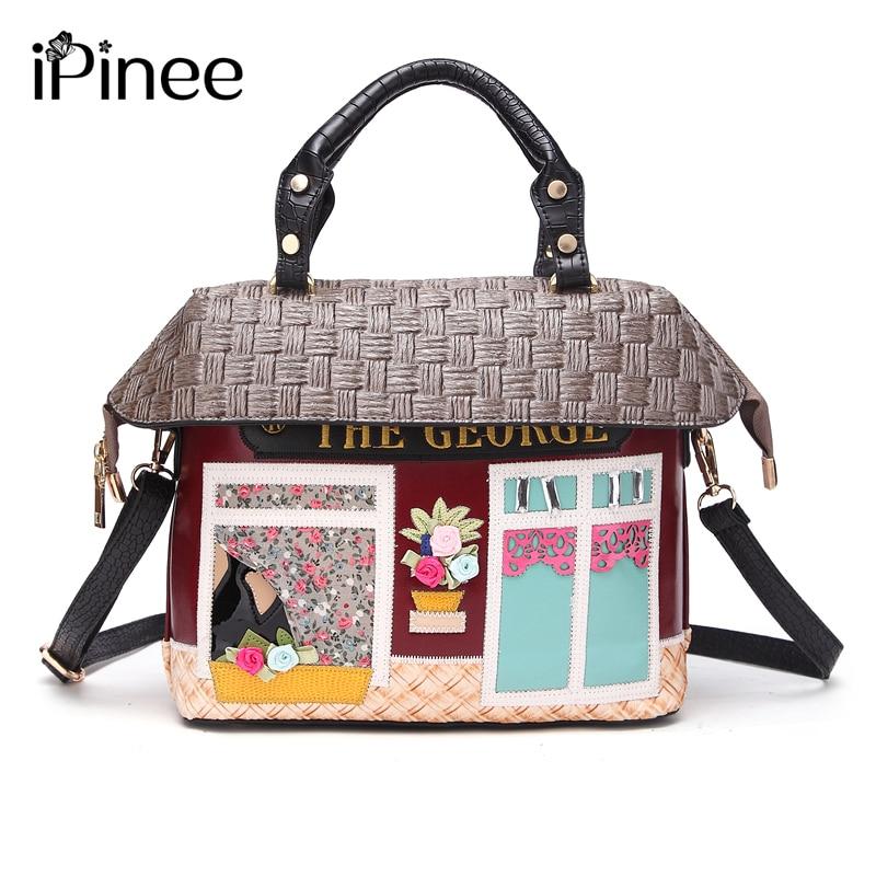 iPinee New Arrival Fashion Female House Design Hand Bags Beach CrossBody Bag Cartoon Handbags For Women beach house