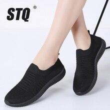 STQ 2020 baskets en maille pour femmes, chaussures de créateurs plates, espadrilles décontractées, chaussures plates, 003, automne à lacets
