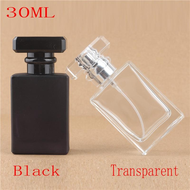1 unids Venta al por menor 30 ml Cuadrado Perfume atomizador Botella de vidrio Pulverizador Spray Recargable Botella
