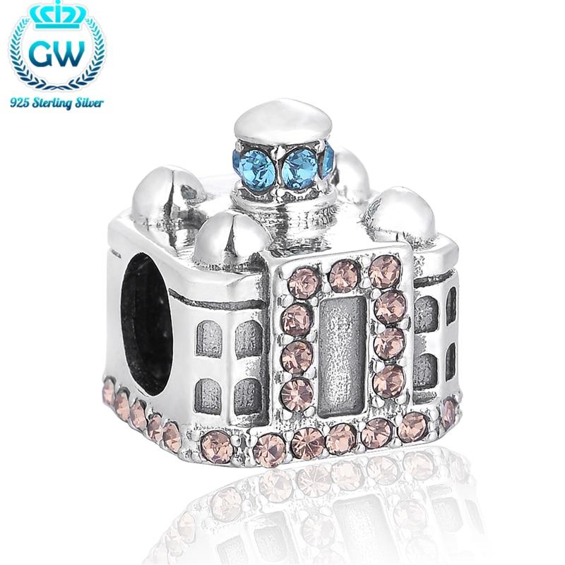 Автентичний 925 стерлінгового срібла тадж-махал з бісеру шарм Diy прокладки з кубічним цирконієм для браслетів для дружби GW Марка X360