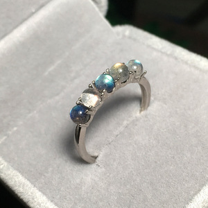 Image 1 - 925 סטרלינג כסף אפור קשת טבעת כחול ברדוריט אבן אופנה חצי יקר טבעי חן פתוח נצח טבעת לנשים