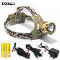 2016 XML T6 3000 Lumens LED Headlamp Rechargeable Headlight Outdoor Light Camping Cycling Camouflage Lamp High / Low / Flashing