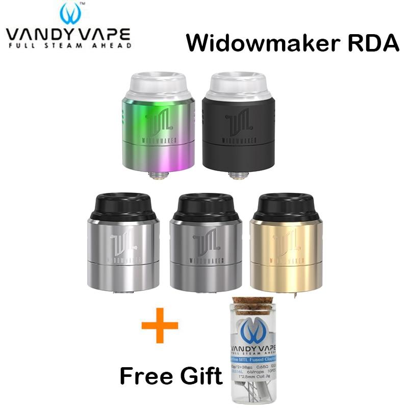 Free Gift! Original Vandy Vape Widowmaker RDA Tank 1ML VandyVape Three Adjustable Airflow Caps Atomizer For E Cigarette Mod Box