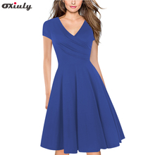 Oxiuly Women Elegant Red Dresse V Neck Short Sleeve A Line Slim Fit and Flare Swing Vintage Blue Dress for