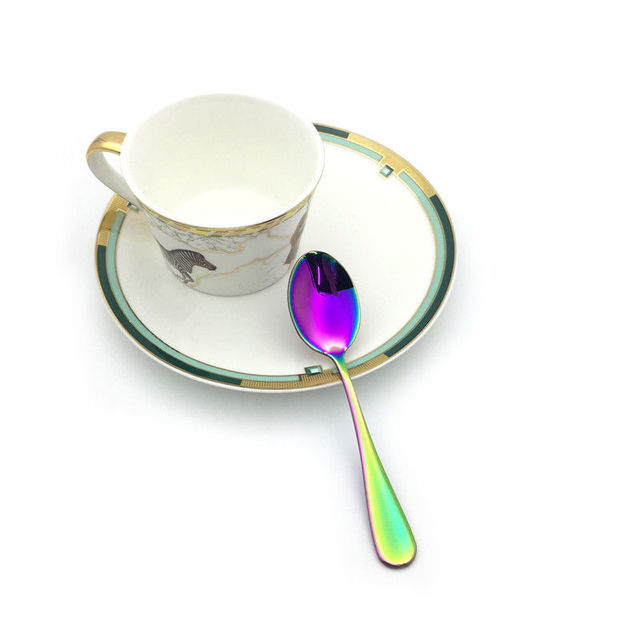 6Pcs/lot Stainless Steel Rainbow Coffee Tea spoon Dessert Teaspoon Fruit Scoop