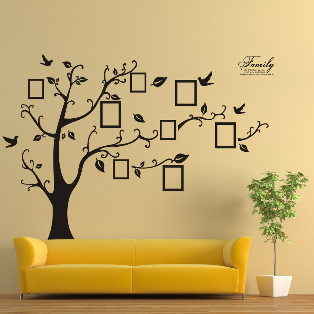 200 250cm Removable Tree Stencils For Walls Black Family Memory