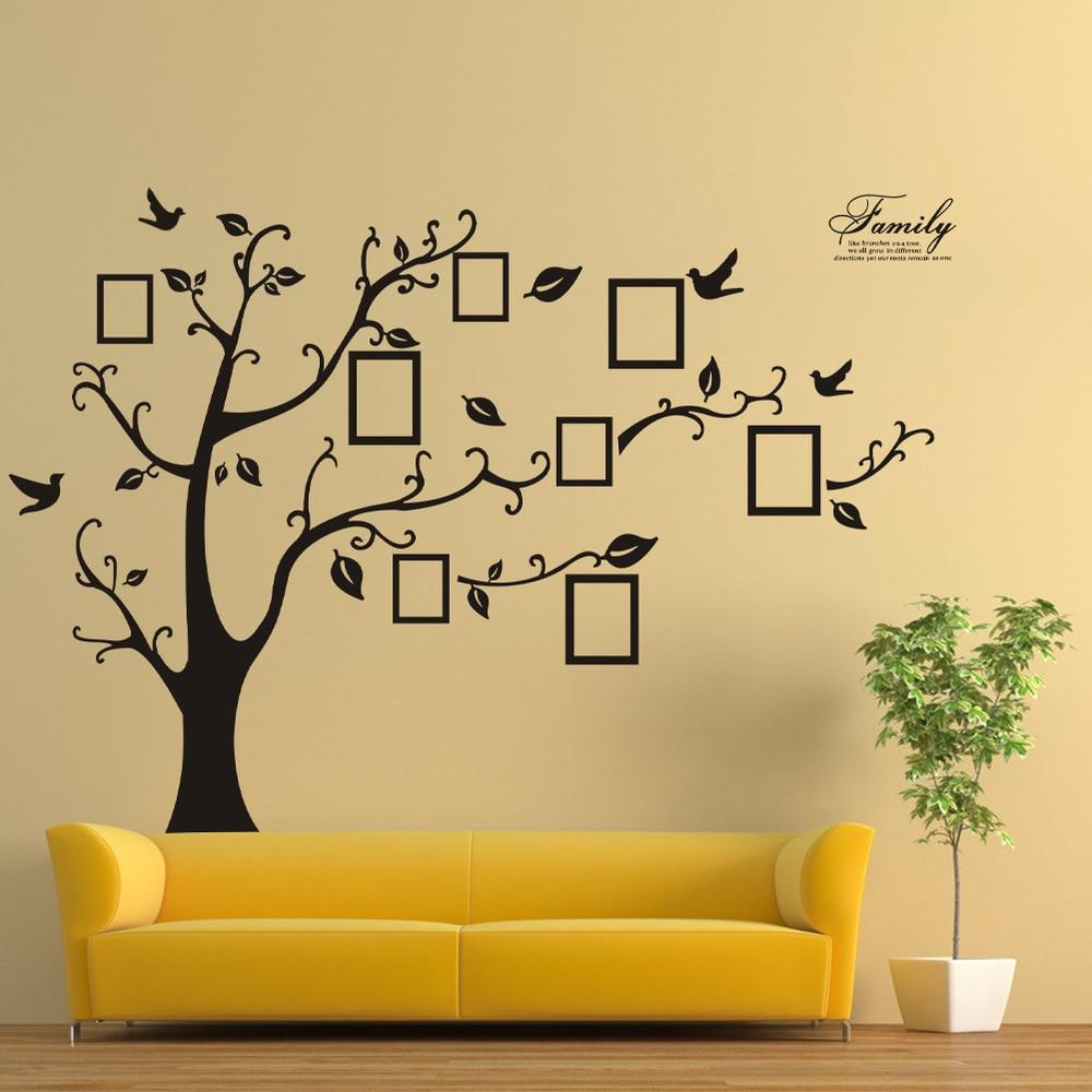 200 250CM Removable Tree Stencils For Walls Black Family Memory Photo Wall Sticker Porta Retrato Arvore In Stickers From Home Garden