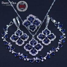 Colgante de circonia cúbica azul oscuro para mujer, collar, pendientes, anillos, pulseras, conjunto de joyería de color plateado