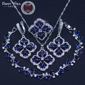Image 1 - New Fashion Women Love Gift Dark Blue Cubic Zirconia Pendant/Necklace/Earrings/Rings/Bracelets silver color Jewelry Set