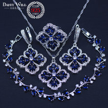 Nuove Donne di Modo di Amore Regalo Dark Blue Cubic Zirconia Pendente/Collana/Orecchini/Anelli/Bracciali argento colore insieme dei monili