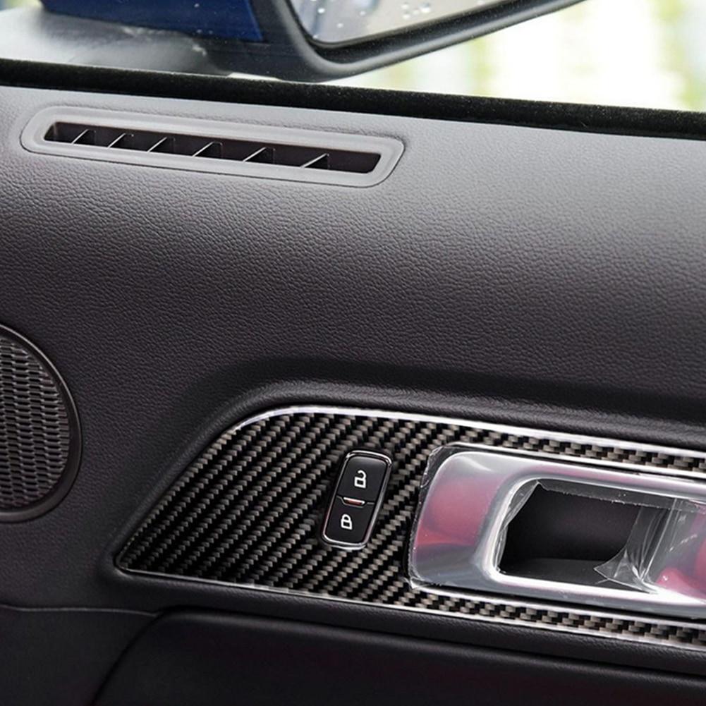 פורד 1 מסגרת ידית דלת המכונית סיב פחמן זוג Trim מדבקה עבור פורד מוסטנג 15-17 (3)
