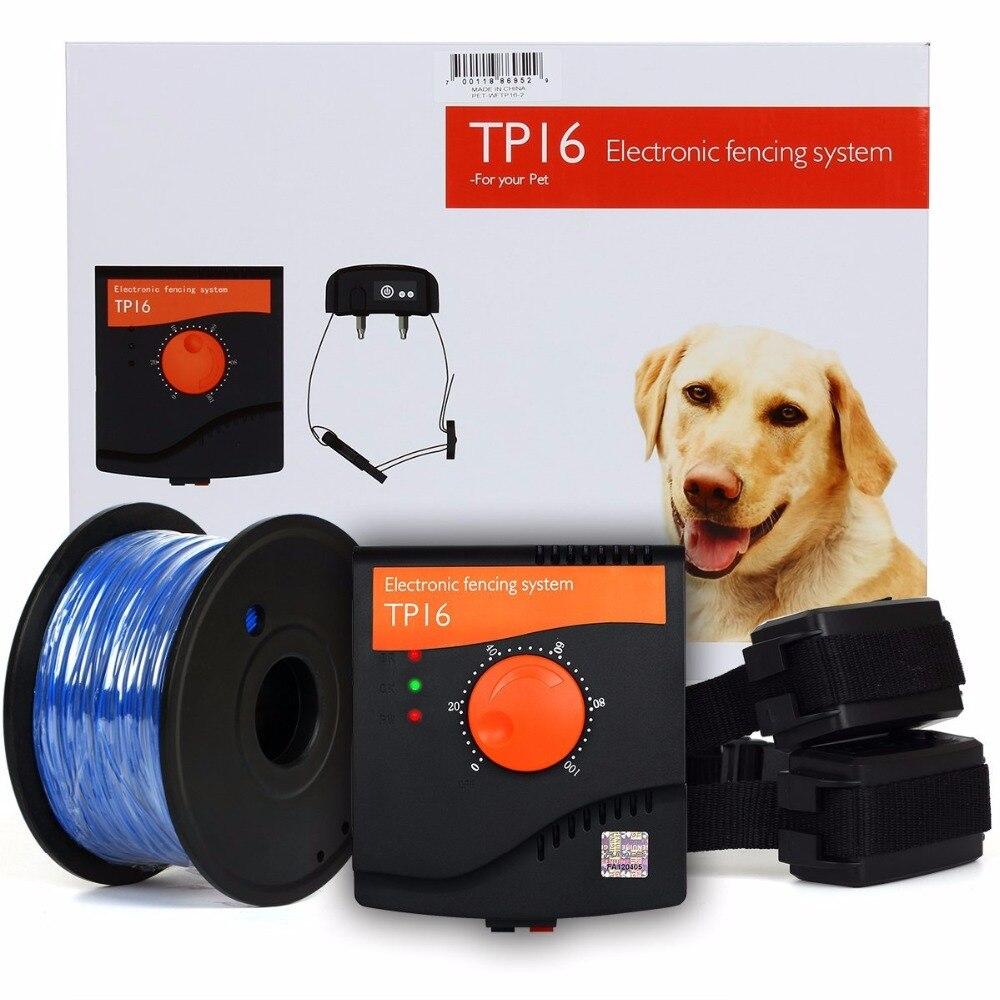 Système de clôture pour animaux de compagnie chien clôture électrique Rechargeable étanche choc réglable collier de dressage pour deux chiens-in Colliers de dressage from Maison & Animalerie    1