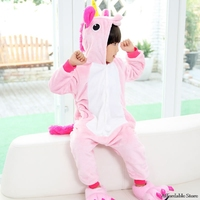 2017 New Flannel Unicorn Animal Pajamas Children Cosplay Parental Thickening Men And Women Baby