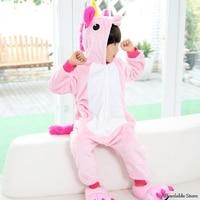 2017 New Flannel Unicorn Animal Pajamas Children Cosplay Parental Thickening Men And Women Baby