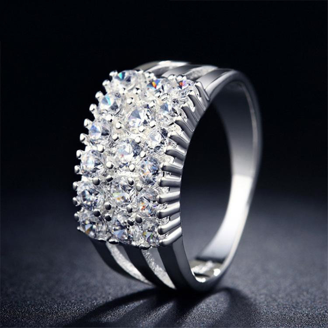 H:HYDE Silver Color Rings For Women The CZ Stone Ring Jewelry Bijoux zirconia Accessories Engagement Wedding Bague Bijouterie