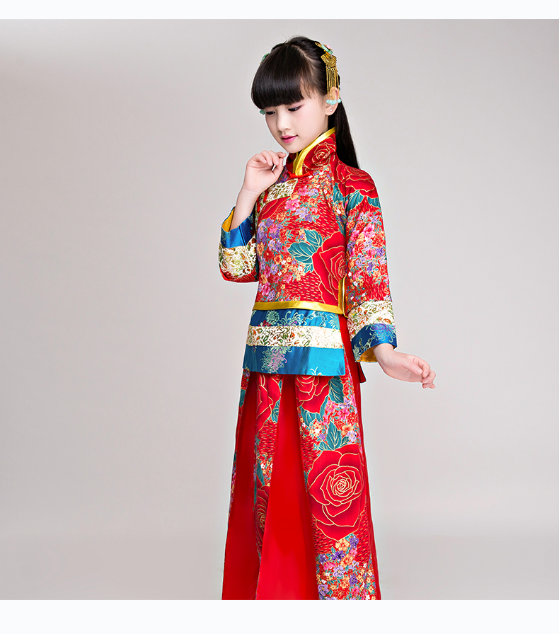 2018 autumn children traditional ancient chinese silk clothing for girls hanfu dance costumes folk costume kids tang fairy dress 2018 autumn girl ancient chinese traditional national costume hanfu dress princess children hanfu dresses cosplay clothing girls
