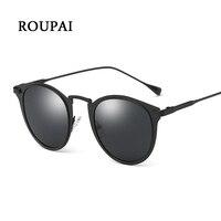ROUPAI Woman Sunglasses Brand 2017 Polarized Sunglasses For Women Black Round Metal Classic Cool Glasses Alloy