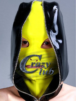 Crazy club_Customized Latex Fetish Hood Mask 100% Natural Latex Fetish Cover black hood with zip Free Shipping Fast Delivery