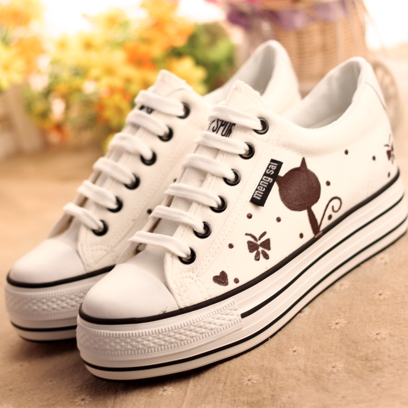 font b Women b font Canvas Shoes Lace Low Top Print Canvas Shoes Breathable Korean