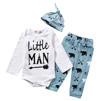 Casual Newborn Baby Boys Clothes Set Long Sleeve Little Man Romper Bodysuit Pant Hat 3PCS Outfit