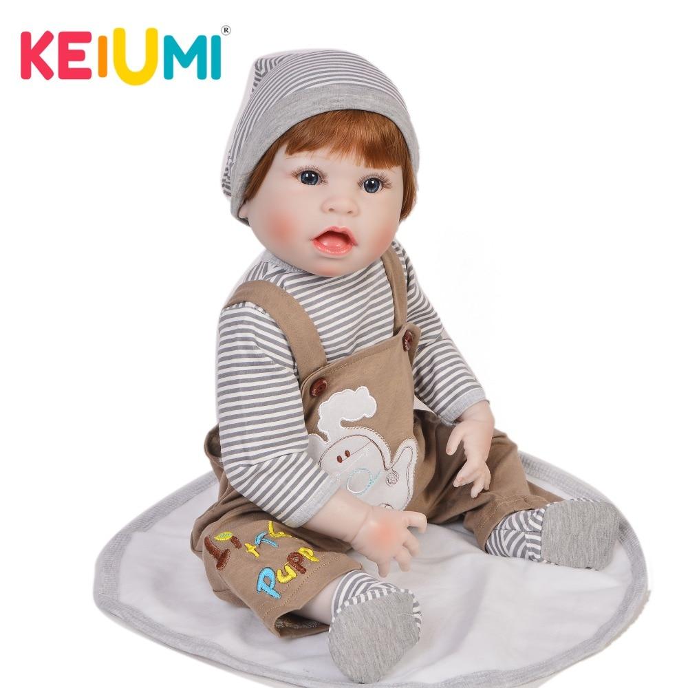 Muñeca recién nacida 57cm de silicona completa realista 23 ''Reborn Baby Boy para la venta Lifelike Playmate regalos de navidad-in Muñecas from Juguetes y pasatiempos    1