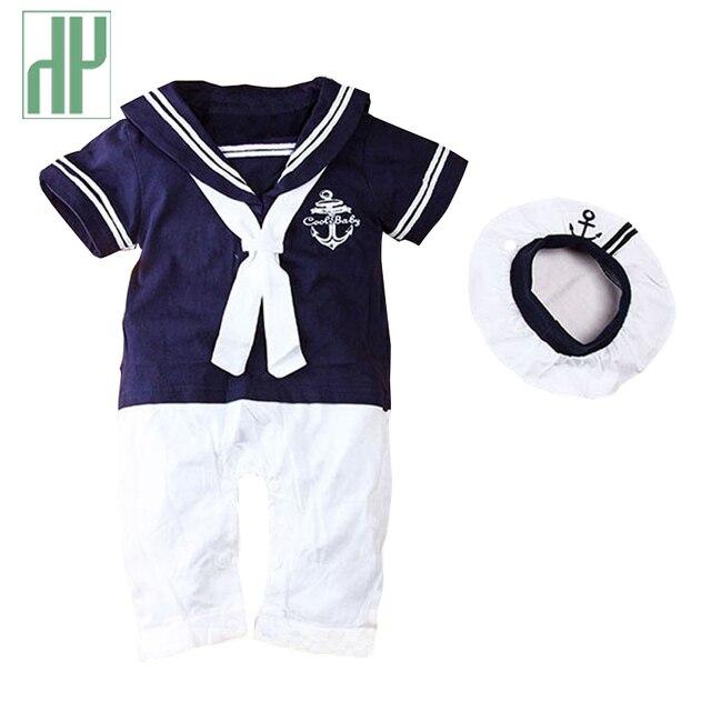 Odzież dla niemowląt letnie dziecko mundurek marynarski Romper 2 sztuk dla dzieci chłopcy dziewczęta letnie pajacyki + kapelusz ciała sukienka urodzinowa odzież dla noworodka unisex