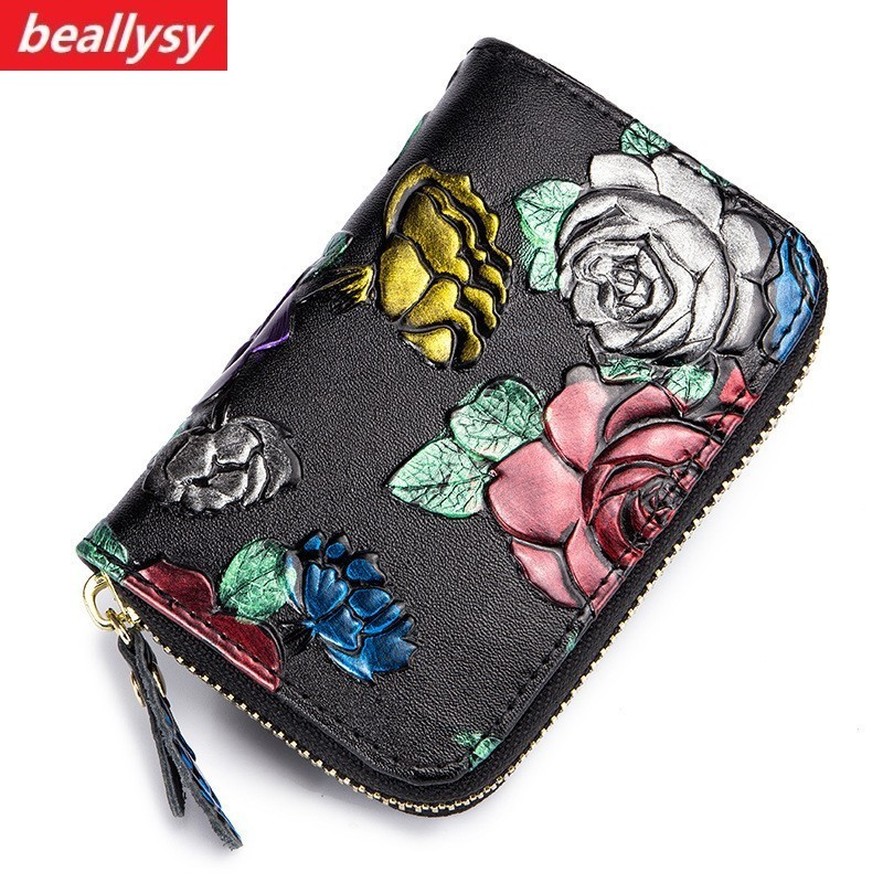 Fashion Unisex Card Holders Wallet Genuine Leather Men Business RFID Cards Wallet High Capacity Women Credit Holders Coin Purses