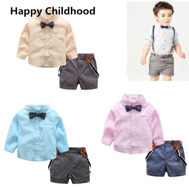 2016 Novos meninos roupas crianças conjuntos de roupas infantis para crianças roupas de bebê menino terno cavalheiro para o casamento camisa de ciclismo + short bib calça + gravata borboleta