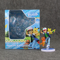 Pokeomn Pikachu Ash Ketchum Figure Satoshi Pikachu Hitokage PVC Model Dolls Toys 9 5cm Great Gift