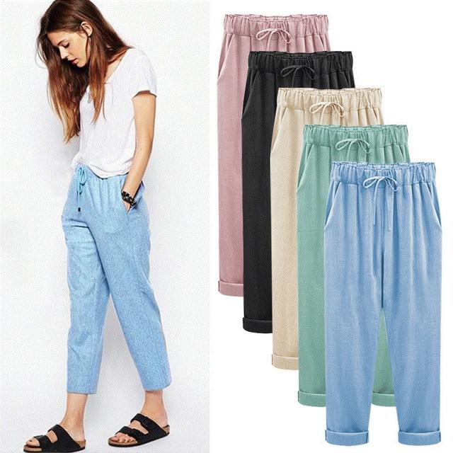 Grande taille femmes coton lin pantalon sarouel grande taille femmes  pantalon 2019 D\u0027été Rue