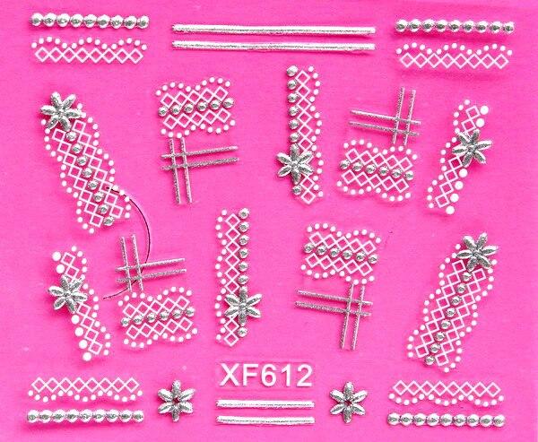 sweet 3D white lace design Water Transfer Nails Art Sticker decals lady women manicure tools Nail Wraps Decals wholesale XF612 1pcs matte surface 3k plain weave 100% carbon fiber plate sheet 300x500x1 6mm