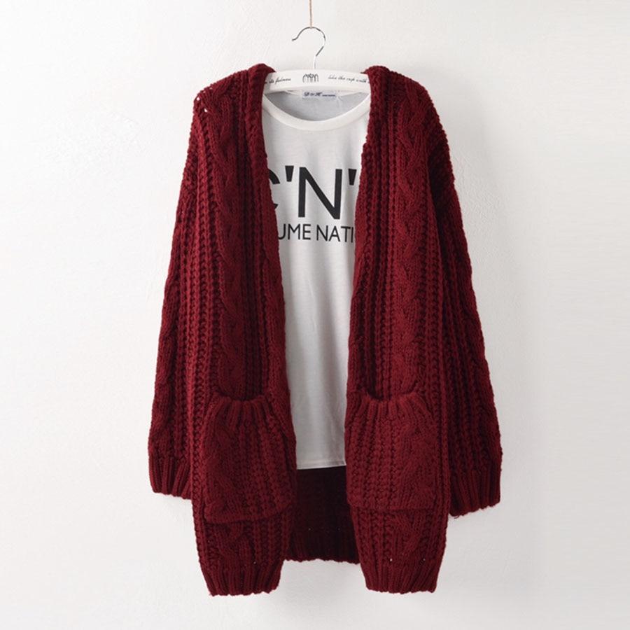 Autumn open stitch twist knitted sweater cardigan Women winter ...