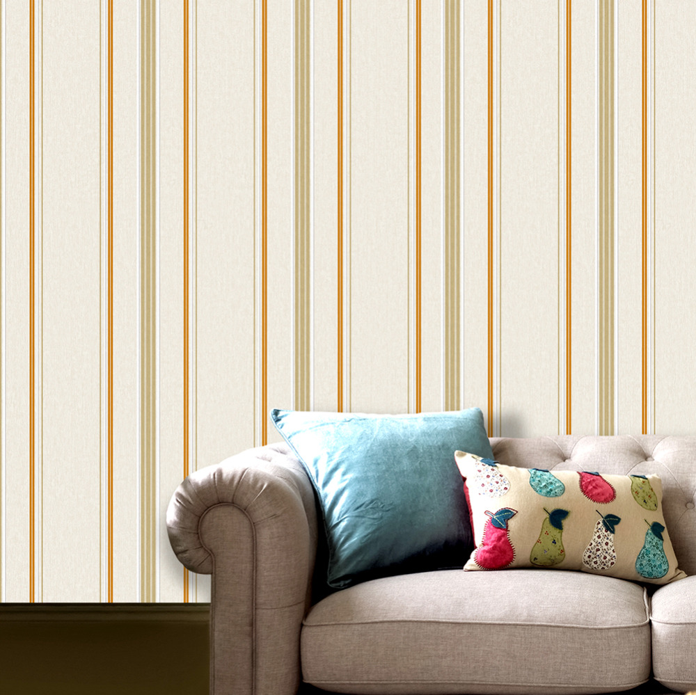 HaokHome Modern Simple striped Non woven wallpaper 3d Cream/Orange ...