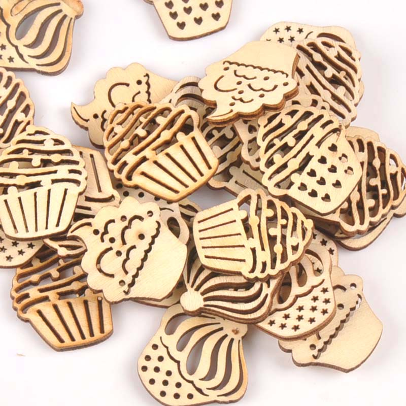 25pcs Mix Hollow Out Cake Wooden Ornament DIY Crafts Home Decoration Scrapbook Unfinished Wood Slices Accessories 25x28mm M1779