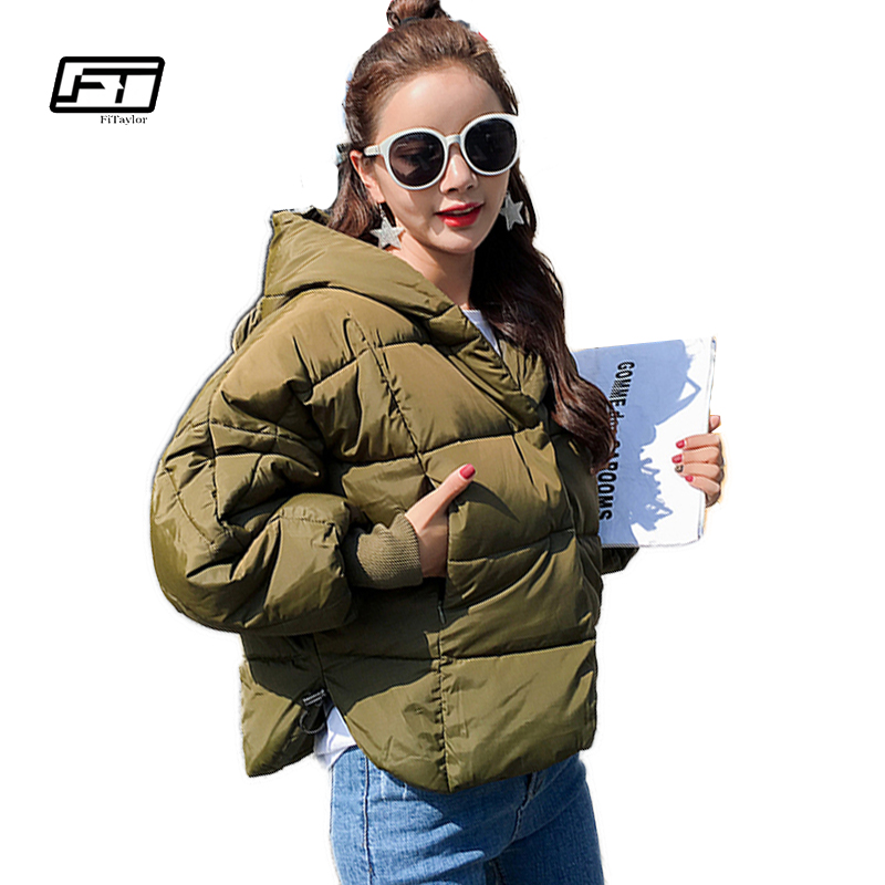 Fitaylor 2017 New Winter Jacket Women Plus Size Loose Cotton Padded Coat Fashion Short Overcoat Casual Hooded Warm Jackets Coats okxgnz winter cotton jacket coat women 2017long cotton padded costume hooded loose warm coats plus size women basic coats ah021