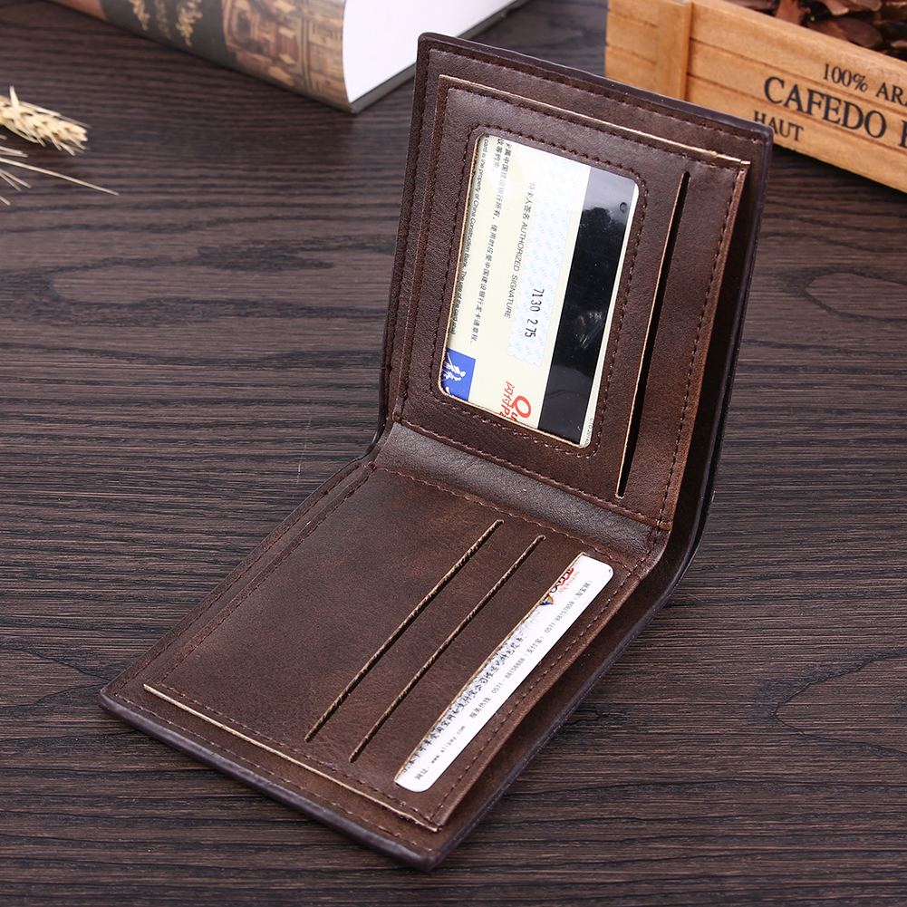 2017 New Men PU Leather Short Wallet Business Card Holder Purse Men Leisure Scrub Wallet Black Casual Simple Men macygraymg real crocodile leather wallet man purse business purse men leisure wallet men short wallet