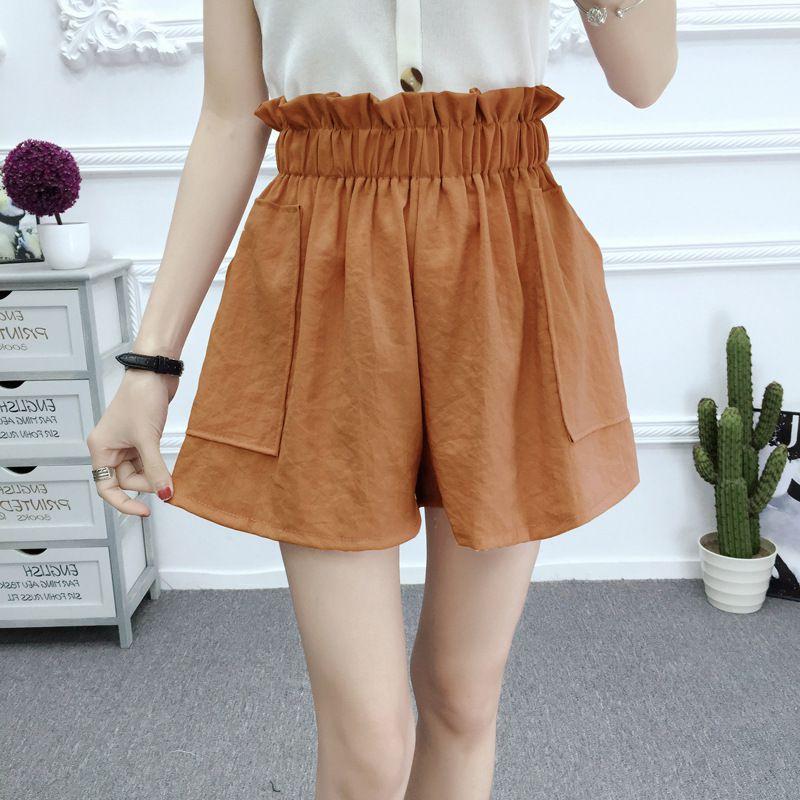 5 Colors Ruffles Shorts For Women Fashion Summer Pocket Wide Leg Short Elastic Waist Casual Shorts Loose Cotton Shorts